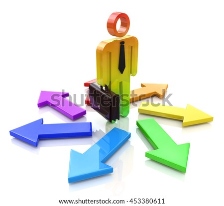 Choosing a Way. 3d people - man, person and arrows. Direction sign in the design of information related to the solution of choice. 3d illustration - stock photo