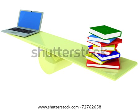 Choosing between a computer and books - stock photo