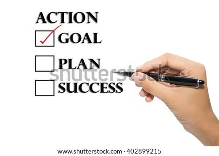 Choosing between goal plan action success - stock photo