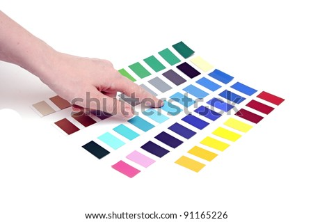 Choosing color from color scale - stock photo