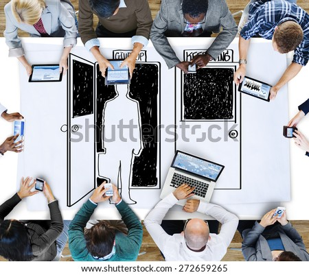 Choosing Decision Give up Keep Going Opportunity Concept - stock photo