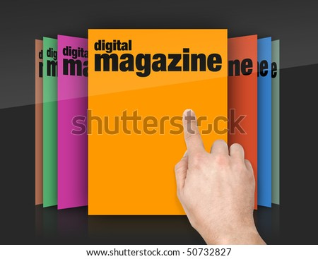 choosing edition of digital magazine on touch screen - stock photo