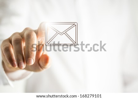 Choosing email icon on virtual interface. - stock photo