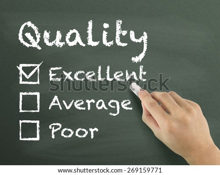 choosing excellent on customer service evaluation form over blackboard - stock photo