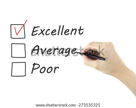 choosing excellent on customer service evaluation form over white background