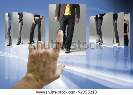 choosing from images stream - stock photo