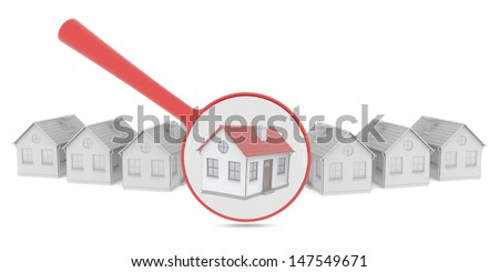 Choosing home. Several houses and a magnifying glass. Isolated render on a white background - stock photo