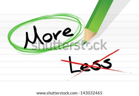 Choosing More instead of Less. illustration design over white - stock photo