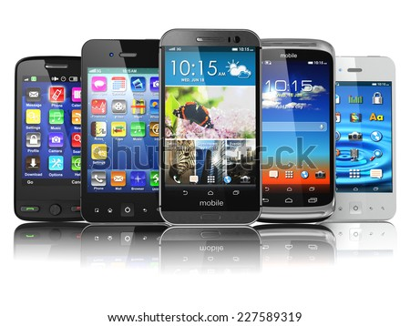 Choosing of mobile phone.  Different modern smartphones with touchscreen and colorful apps isolated on white background. 3d