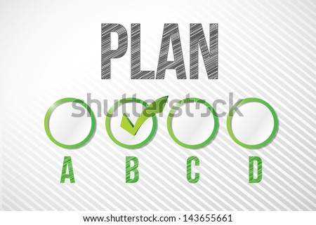choosing plan b illustration design over a white paper background - stock photo