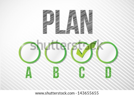 choosing plan c illustration design over a white paper background - stock photo