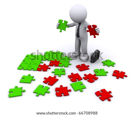 choosing the right piece. decision concept - stock photo
