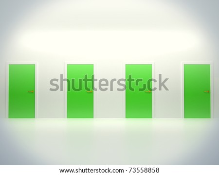 Choosing the right way: four conceptual doors in abstract room - stock photo