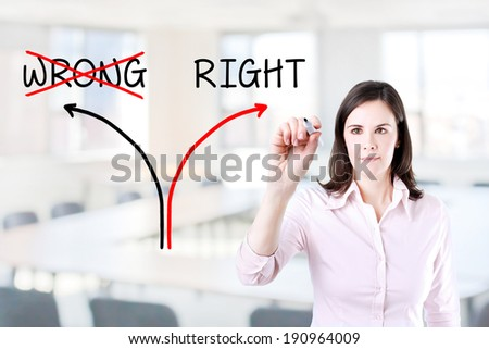 Choosing the Right way instead of the Wrong one. Office background.