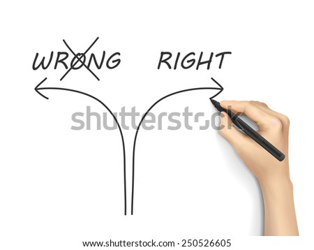 choosing the right way instead of the wrong one on white background - stock photo