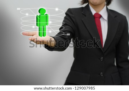 Choosing the talented person for hiring in magnifying - stock photo