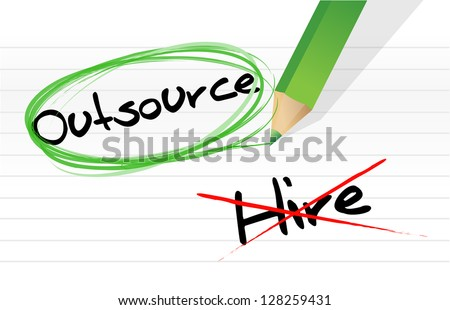 Choosing to Outsource instead of hiring illustration design - stock photo