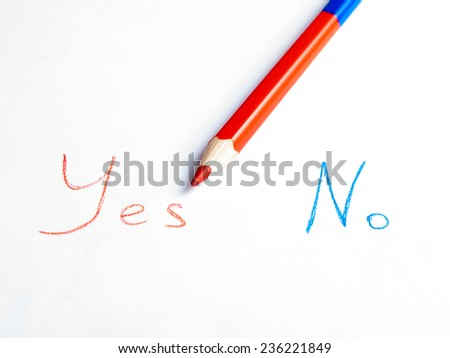 Choosing Yes - stock photo