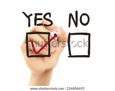choosing yes on survey by 3d hand over white background - stock photo