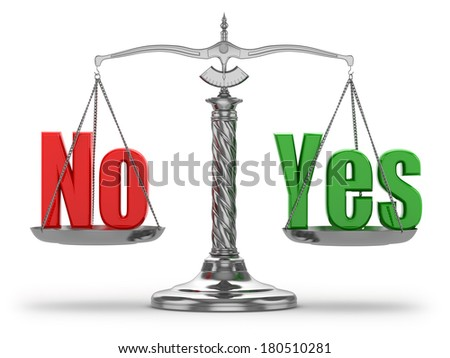 Choosing  yes or no. Scales on white isolated background. 3d - stock photo