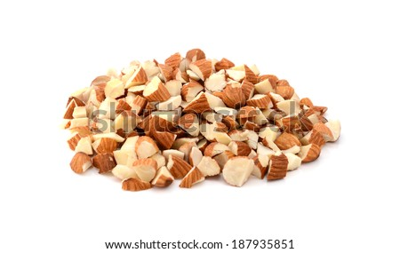Chopped almonds, isolated on a white background - stock photo