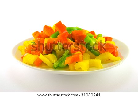Chopped assorted peppers on a white plate with a plain background