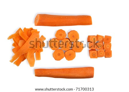 Chopped carrot for cooking isolated on white - stock photo