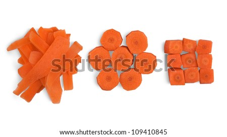 Chopped carrot for cooking isolated on white background - stock photo