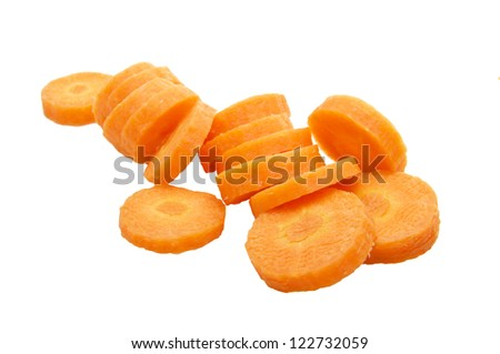Chopped Carrot Isolated on White Background - stock photo
