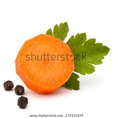 Chopped carrot slice and parsley herb leaves still life isolated on white background cutout - stock photo