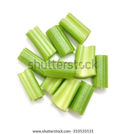Chopped celery isolated on white  - stock photo