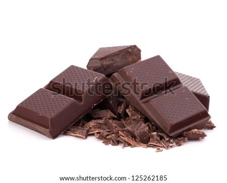 Chopped chocolate  bars  isolated on white background - stock photo