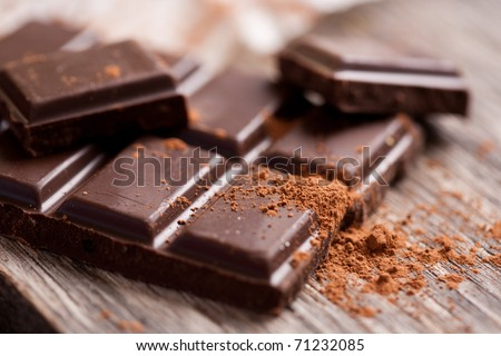 Chopped chocolate with cocoa - stock photo