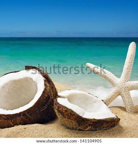 chopped coconut on sea-beach background - stock photo