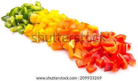 Chopped colorful capsicum over white background
