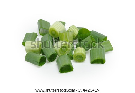 Chopped green onion isolated on white background - stock photo