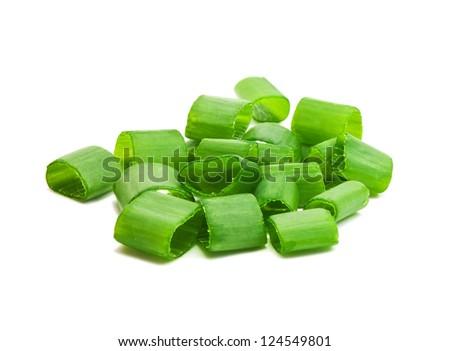 chopped green onions on white - stock photo