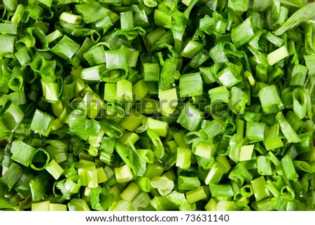 chopped green spring onions background - stock photo