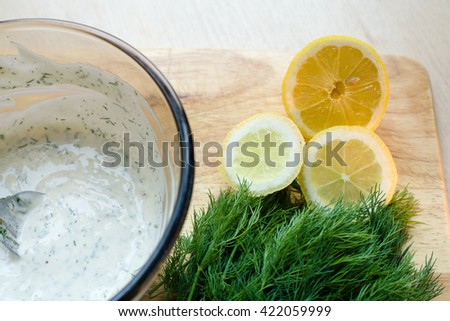 chopped lemon and dill mayonnaise close up - stock photo