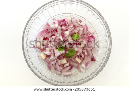 chopped onion with green chili , ready to eat raw or to cook - stock photo