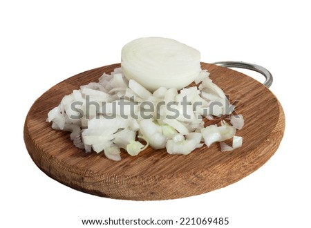Chopped onions on a chopping board isolated on white background