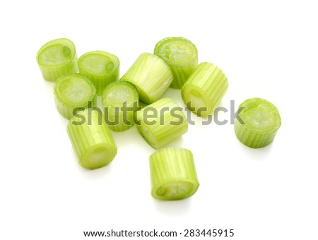 chopped onions on white background