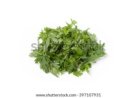 Chopped parsley on a white background isolated - stock photo