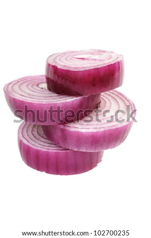 Chopped red onion circles. Isolated on white.