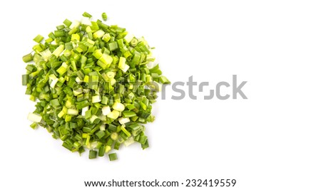Chopped scallion or spring onion leaves - stock photo