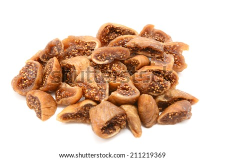 Chopped soft dried figs, isolated on a white background - stock photo