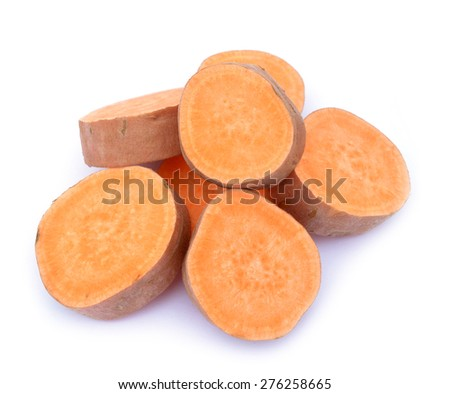 chopped sweet potato isolated on white background