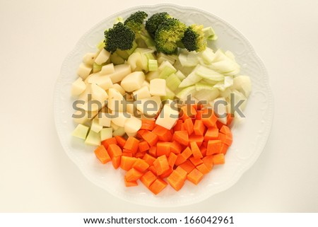 Chopped vegetable ready for cooking Minestrone soup - stock photo