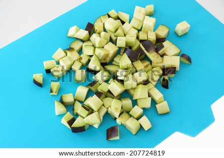 Chopped vegetables on a cutting board - stock photo