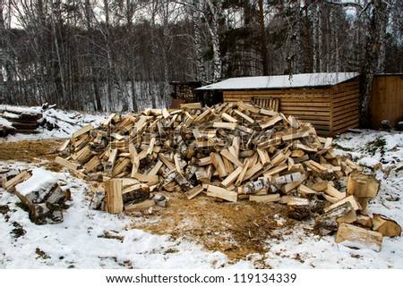 Chopped wood. Preparing for the winter season.